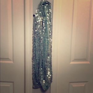 Light teal sequined infinity scarf